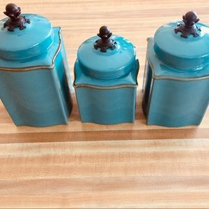 SL@H Tuscan Canister Set with Iron Finials EUC